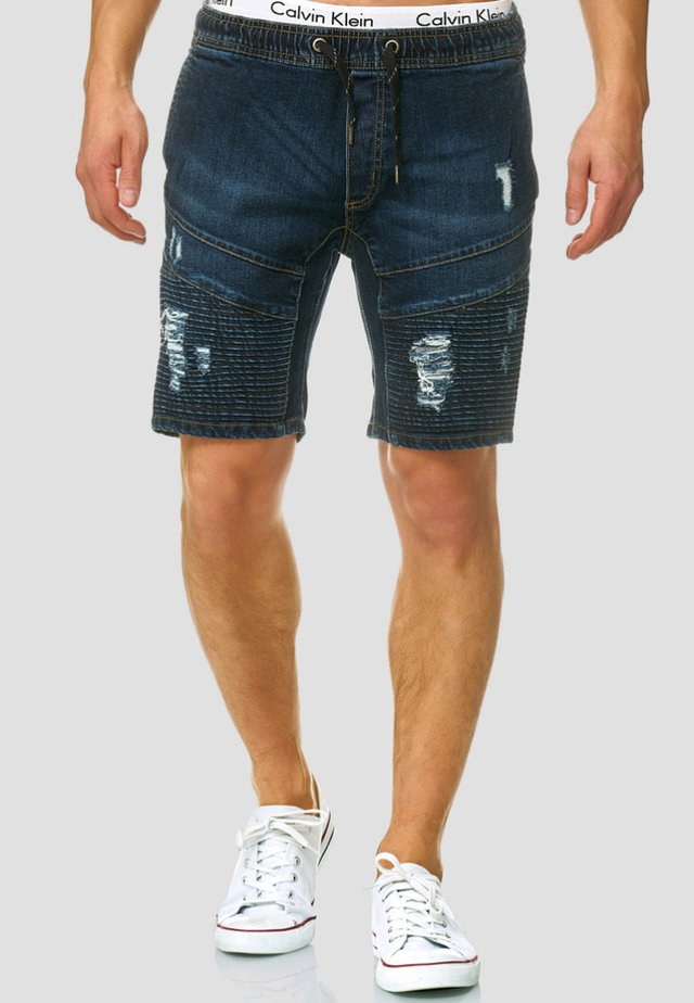 MIT ELASTISC - Denim shorts - dark blue
