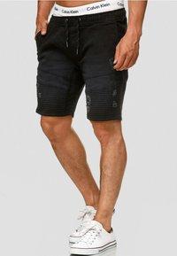 INDICODE JEANS - MIT ELASTISC - Denim shorts - black - 2