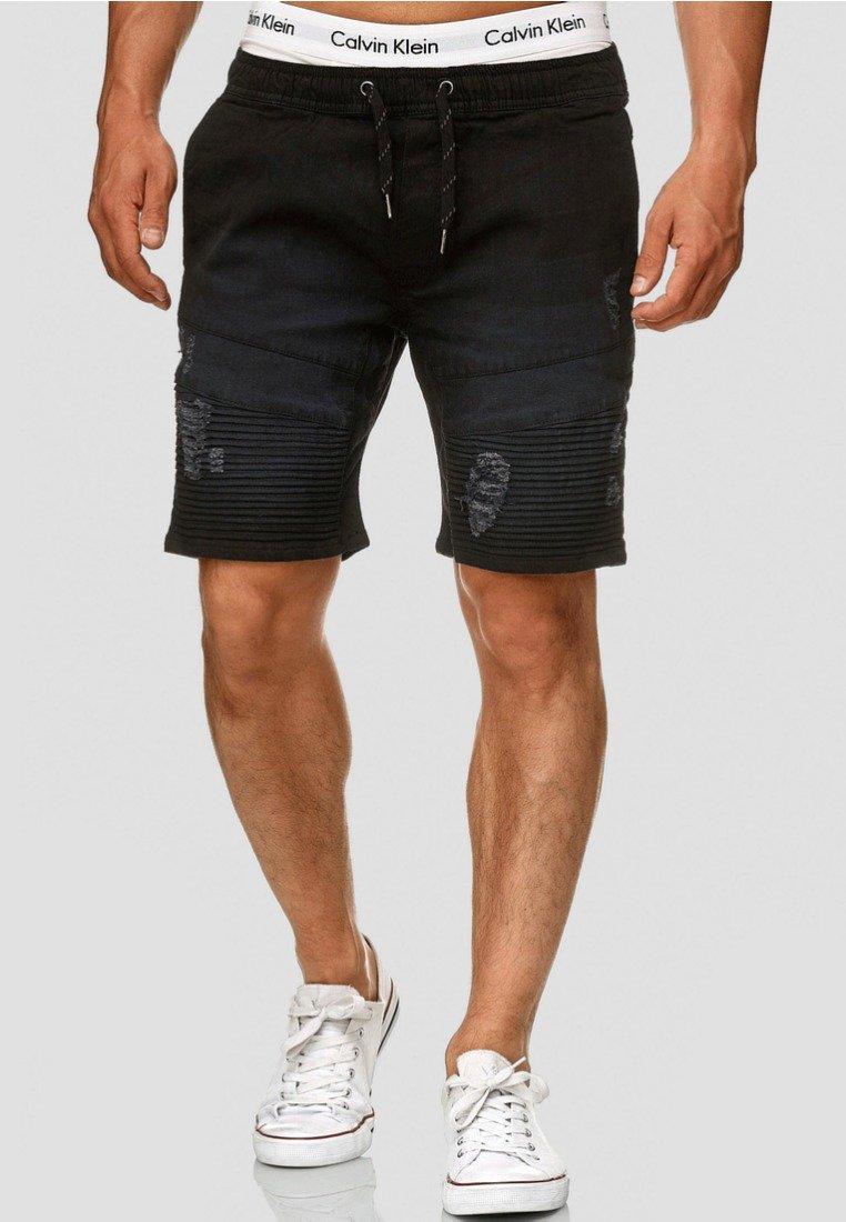 INDICODE JEANS - MIT ELASTISC - Denim shorts - black