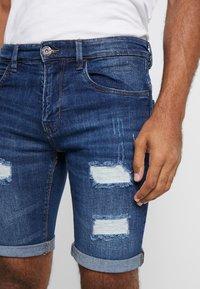 INDICODE JEANS - KADEN HOLES - Shorts di jeans - medium indigo - 5