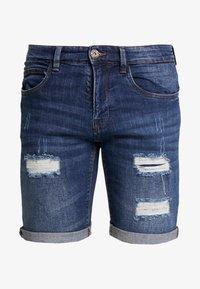 INDICODE JEANS - KADEN HOLES - Shorts di jeans - medium indigo - 4
