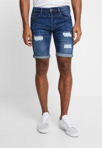 INDICODE JEANS - KADEN HOLES - Shorts di jeans - medium indigo - 0