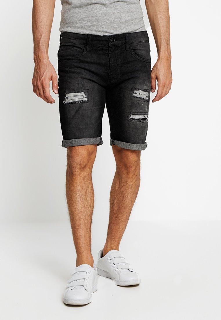 INDICODE JEANS - KADEN HOLES - Denim shorts - black