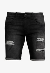 INDICODE JEANS - KADEN HOLES - Jeans Shorts - black - 4