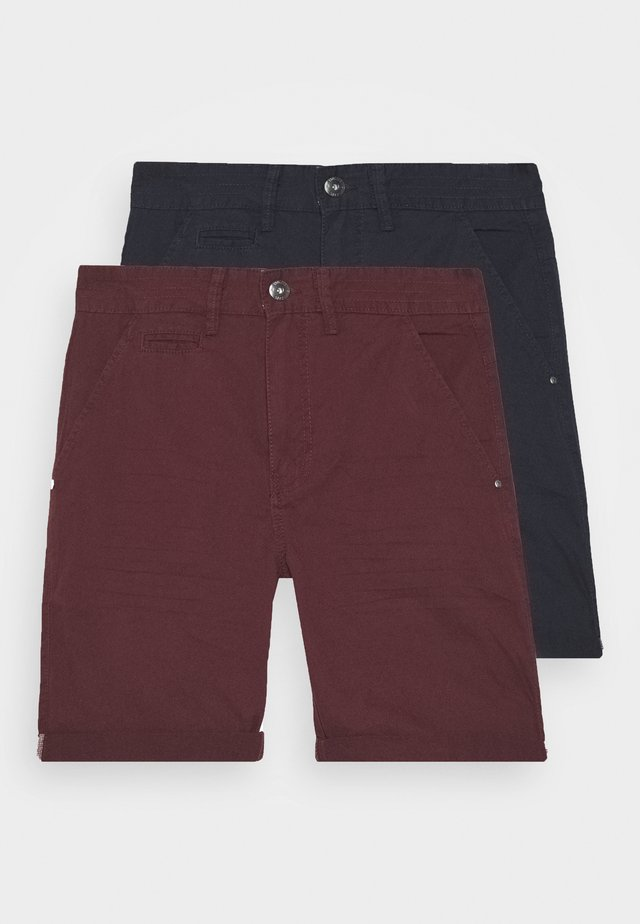 EXCLUSIVE STELLAN 2 PACK - Shorts - navy/burgundy/white