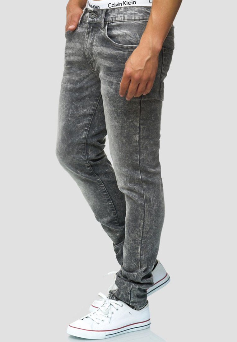 INDICODE JEANS - MIT STRETCH-ANTEIL FINSBURG - Slim fit jeans - light grey