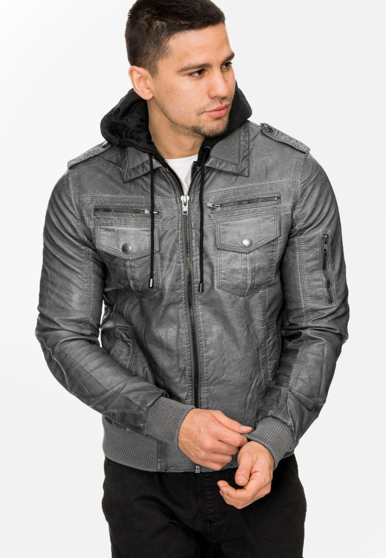 INDICODE JEANS - AARON - Imiteret læderjakke - dark grey