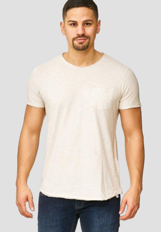 WILBUR - Print T-shirt - mottled beige