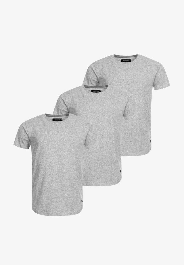 3 PACK - Basic T-shirt - lt grey mix
