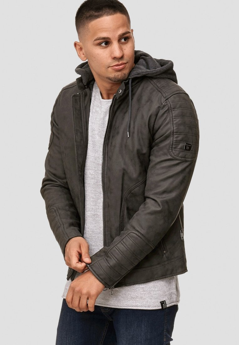 INDICODE JEANS - MIGUEL  - Imiteret læderjakke - dark grey