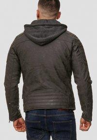 INDICODE JEANS - MIGUEL  - Imiteret læderjakke - dark grey - 2