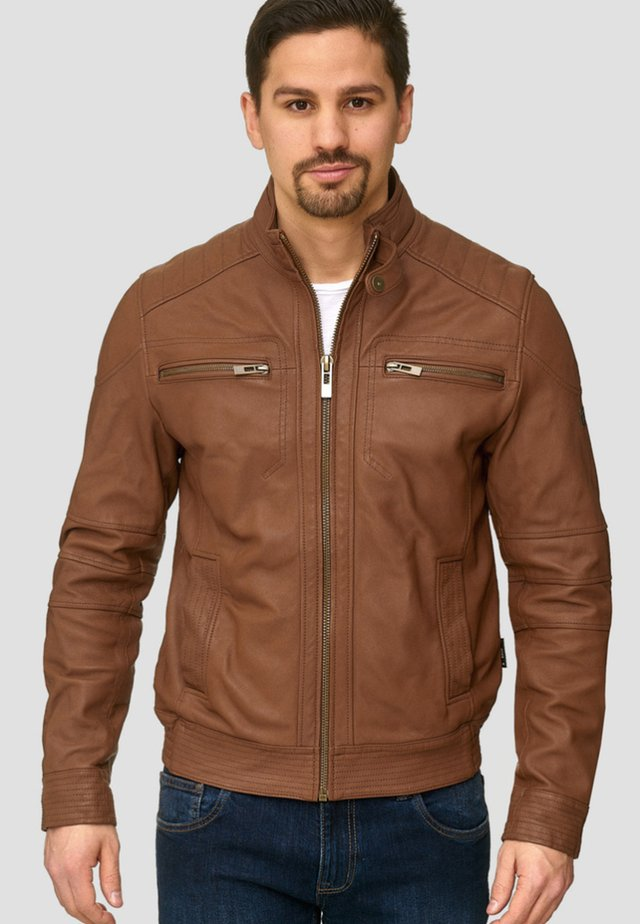 GERMO - Leather jacket - camel