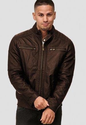 GERMO - Veste en cuir - dark brown