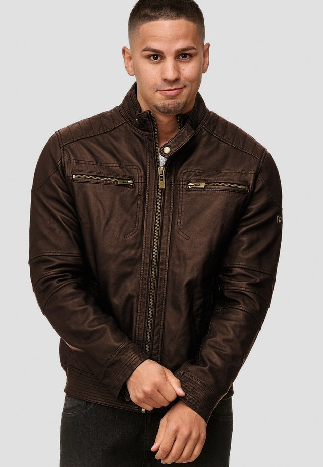 GERMO - Leather jacket - dark brown