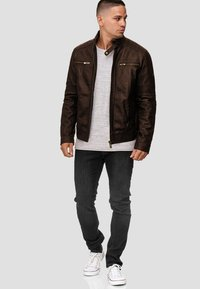 INDICODE JEANS - GERMO - Leather jacket - dark brown - 1
