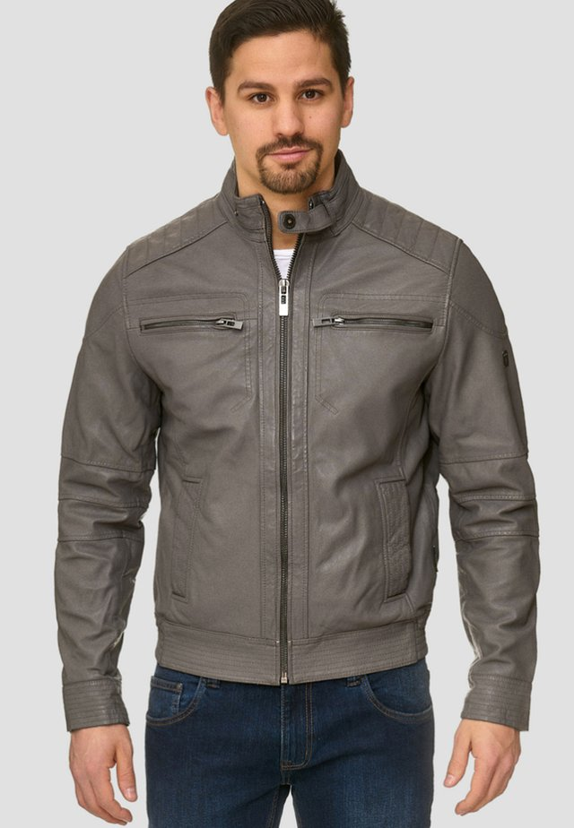 GERMO - Leather jacket - anthracite