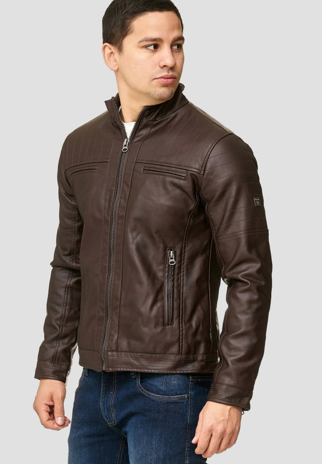 BROOK - Faux leather jacket - dark brown