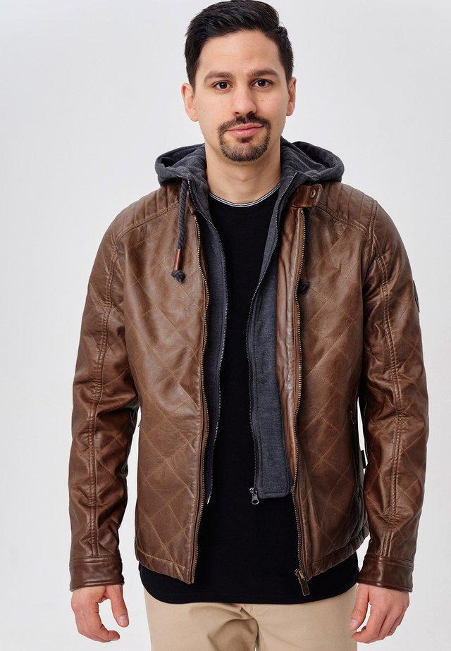 ECKROTE - Imiteret læderjakke - dark brown