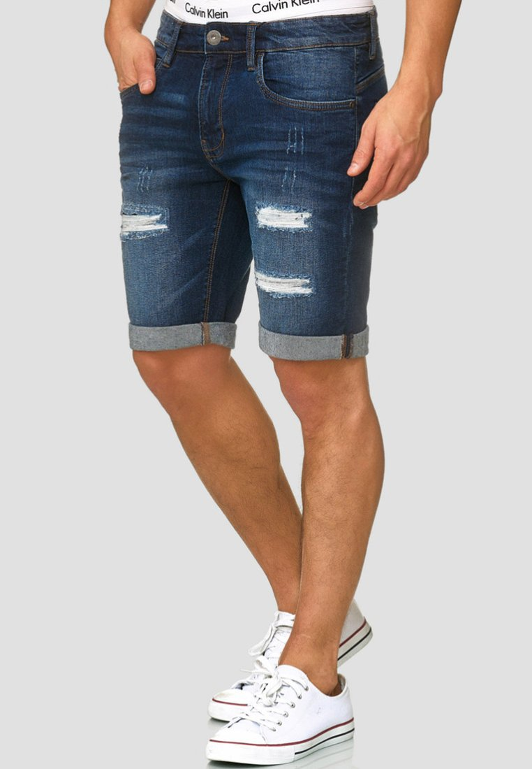 INDICODE JEANS - CUBA CADEN - Denim shorts - dark blue