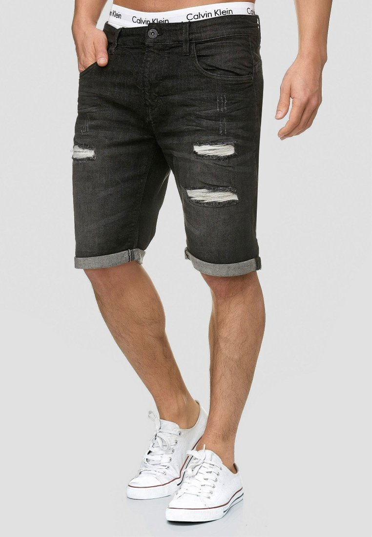 INDICODE JEANS - CUBA CADEN - Denim shorts - black