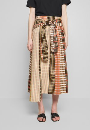 HANNE ILSA SKIRT - A-line skirt - camel multi check and stripe