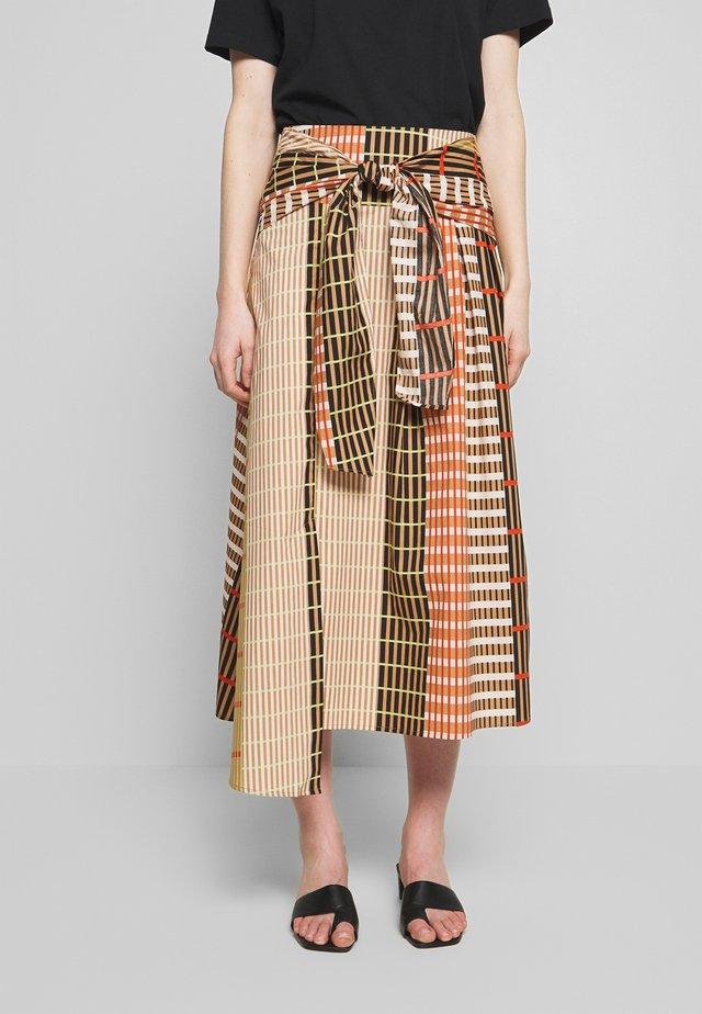 HANNE ILSA SKIRT - A-line skirt - camel multi check and stripe