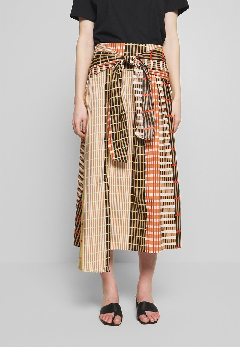 InWear - HANNE ILSA SKIRT - A-snit nederdel/ A-formede nederdele - camel multi check and stripe