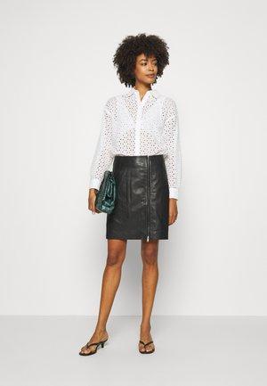 ZAVANNA SKIRT - Leather skirt - black