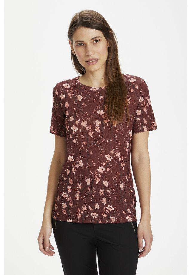 T-shirt basic - russet brown asian floral