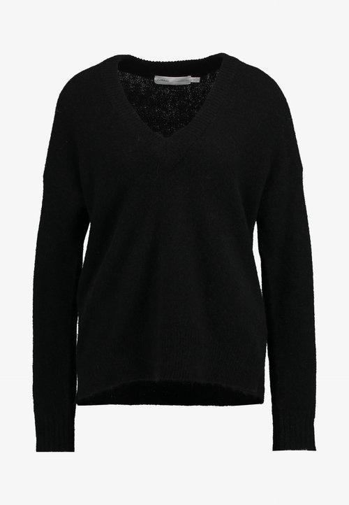 InWear PAPINAIW VNECK - Sweter - black Odzież Damska ZAJV-GN1 szyk