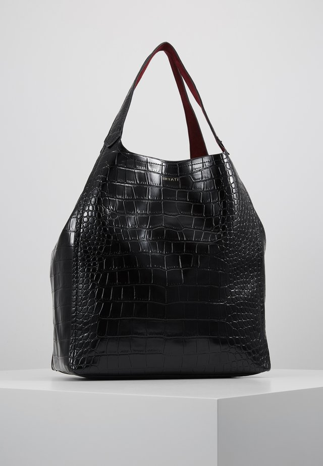 THEA - Handtas - black croco red