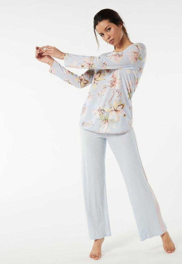 LANGER MIT BLUMENPRINT - Pyjama set - aufdruck - st.floreale blue water