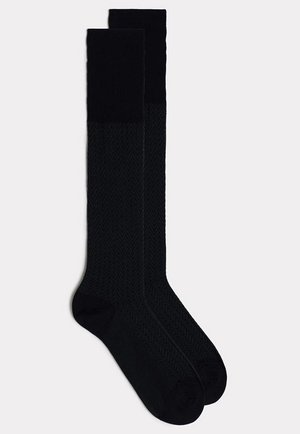 LANGE BAUMWOLLSOCKEN IN VERSCHIEDENEN MUSTERN - Knee high socks - blau - 2331 - spinato blu scuro