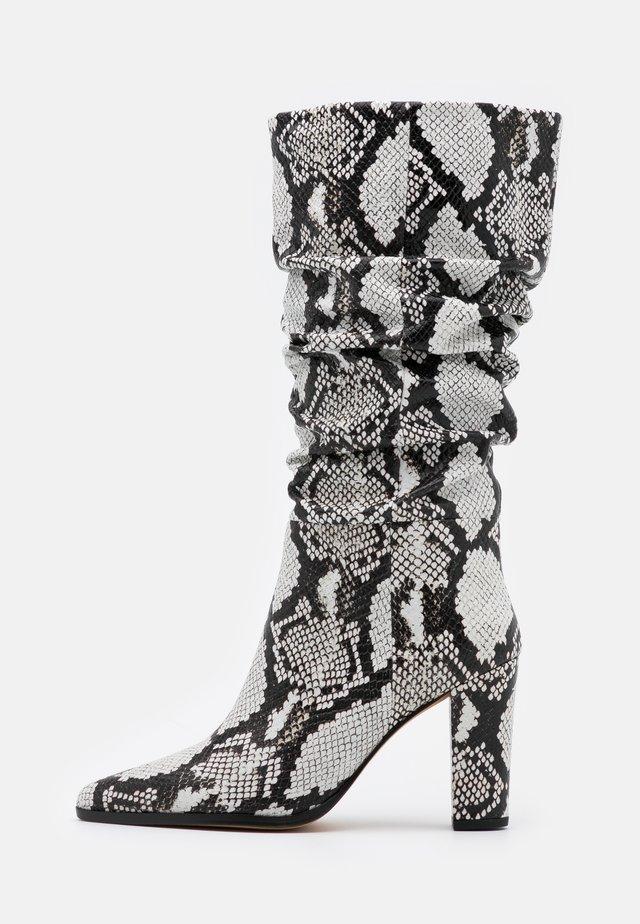 NAGY - High heeled boots - black/white