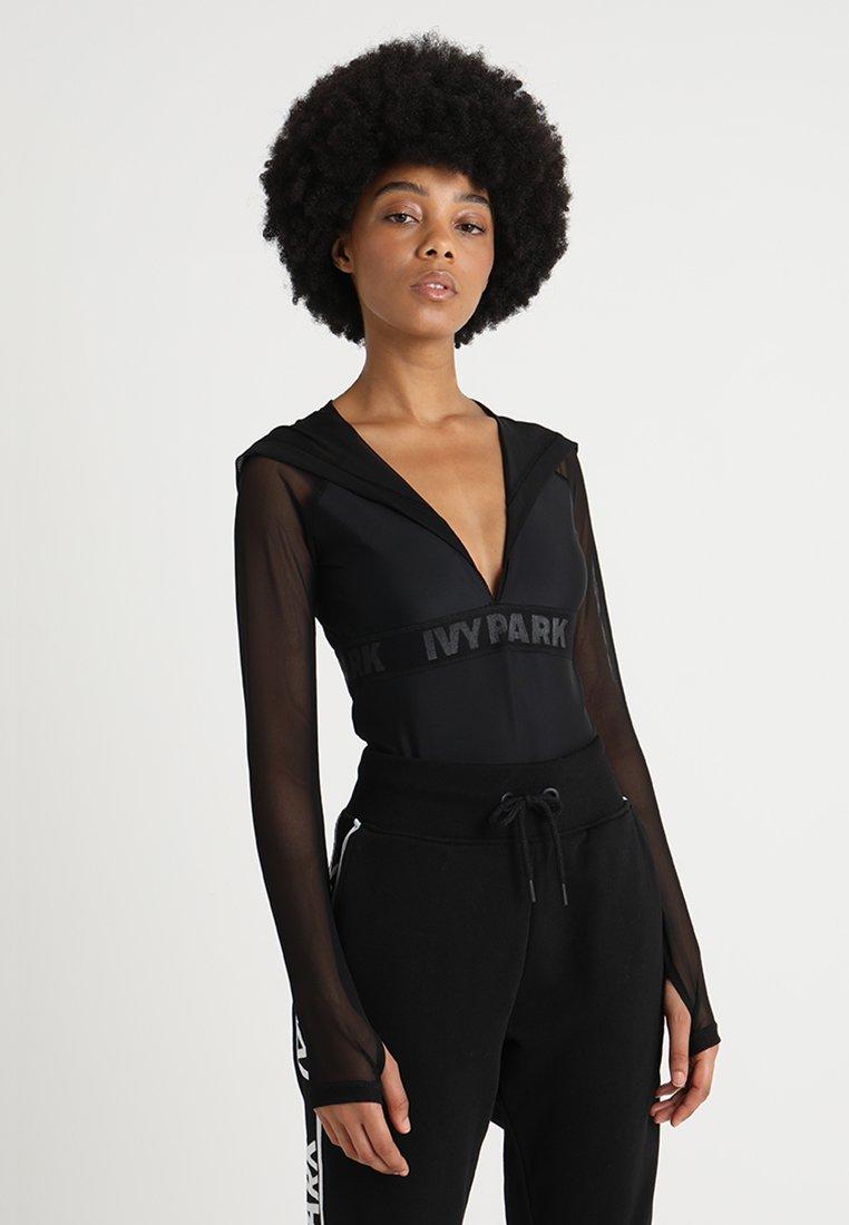 Ivy Park - REGAL DRAPE HOODED BODY - Long sleeved top - black