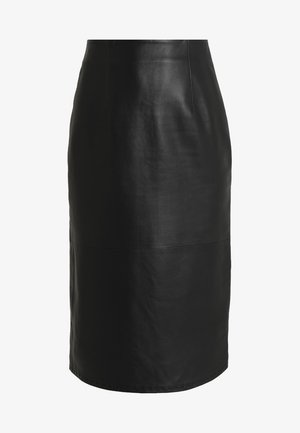 PENCIL SKIRT - Leather skirt - black