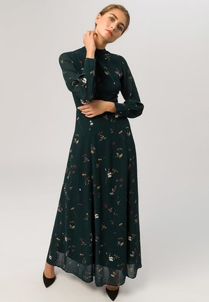 STAND-UP COLLAR DRESS - Vestito lungo - dark green