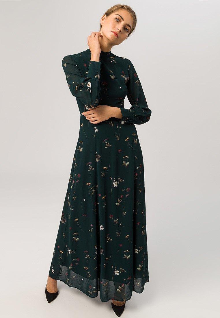 IVY & OAK - STAND-UP COLLAR DRESS - Maxikleid - dark green