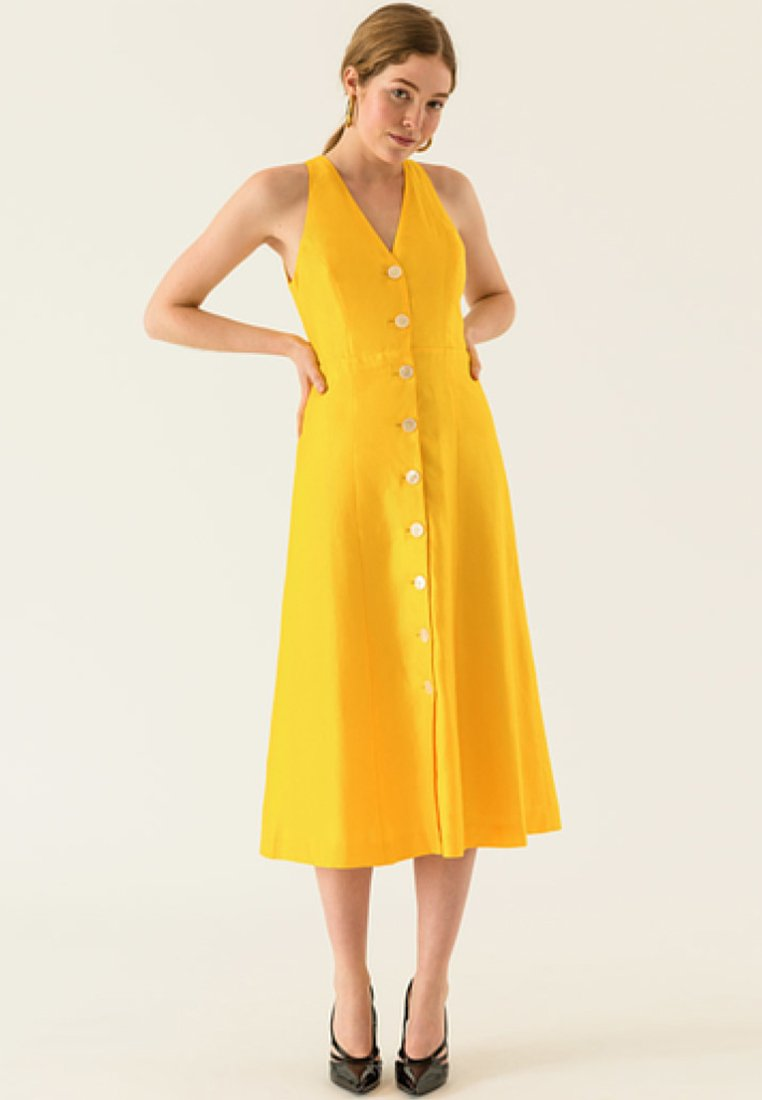IVY & OAK - DRESS BUTTON PLACKET - Skjortekjole - sun/yellow