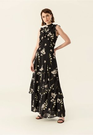 RUFFLED DRESS - Vestito lungo - black