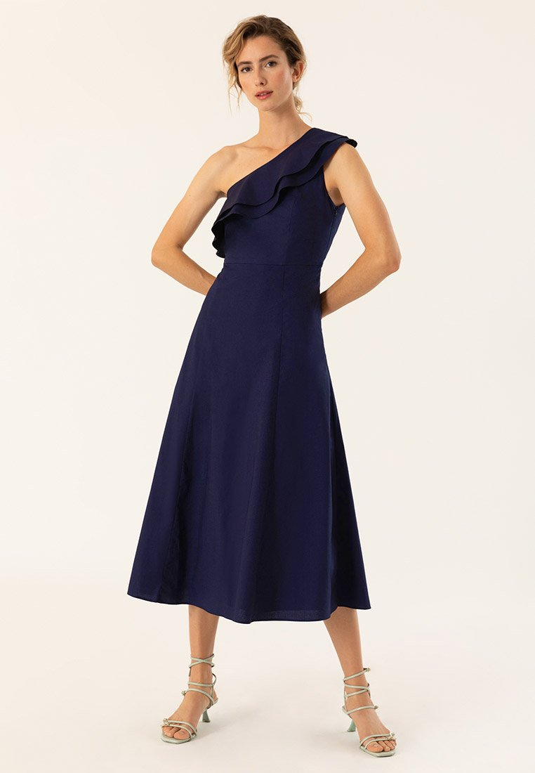 IVY & OAK - ONE SHOULDER VALANCE DRESS - Robe longue - navy blue