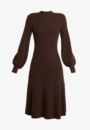 LENGTH DRESS - Gebreide jurk - dark chocolate