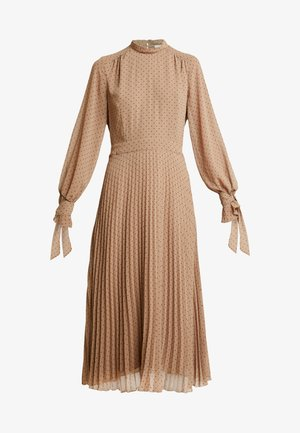 PLEATED DRESS - Day dress - brown