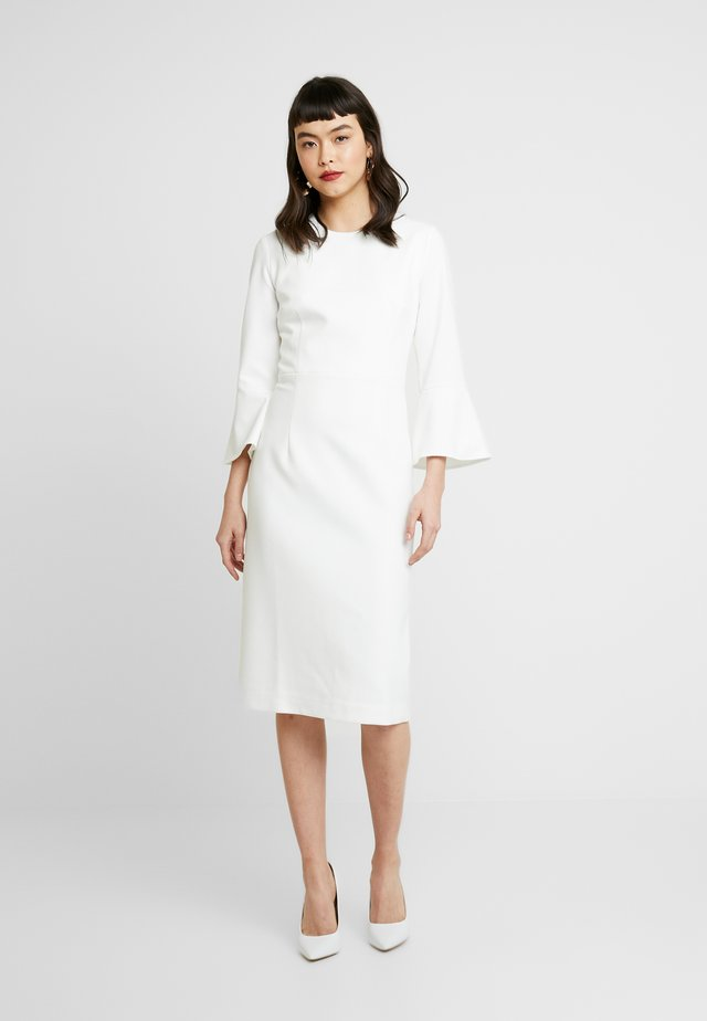 TRUMPET SLEEVE DRESS - Etui-jurk - snow white