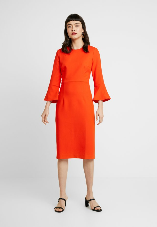 TRUMPET SLEEVE DRESS - Shift dress - mandarin red