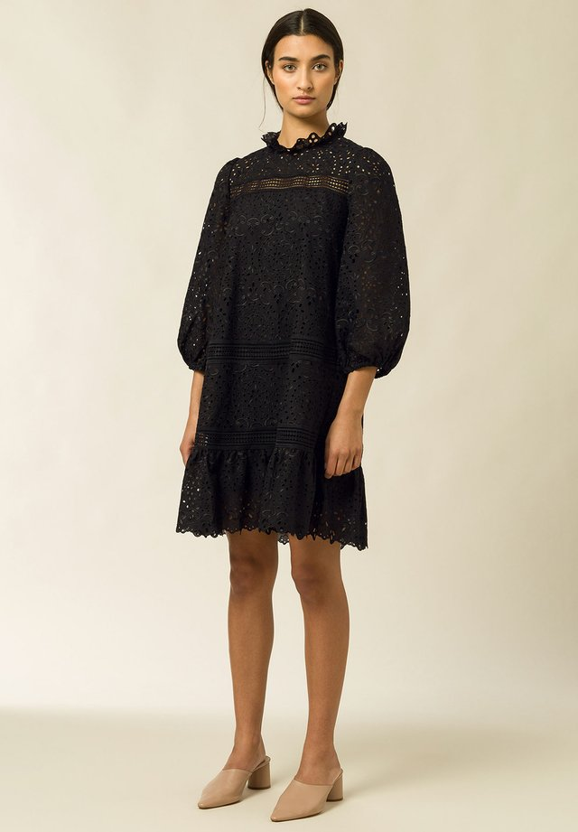 DRESS PUFFY SLEEVES MINI - Vapaa-ajan mekko - black