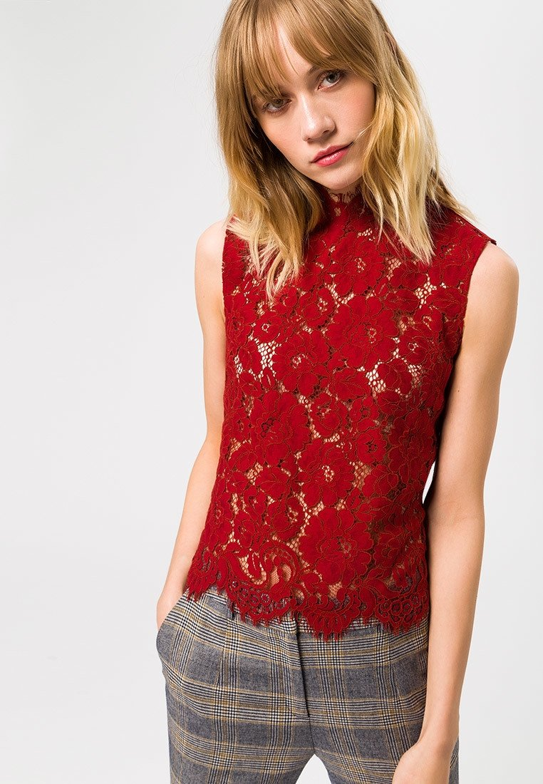 IVY & OAK - STAND-UP COLLAR - Bluse - rusty red