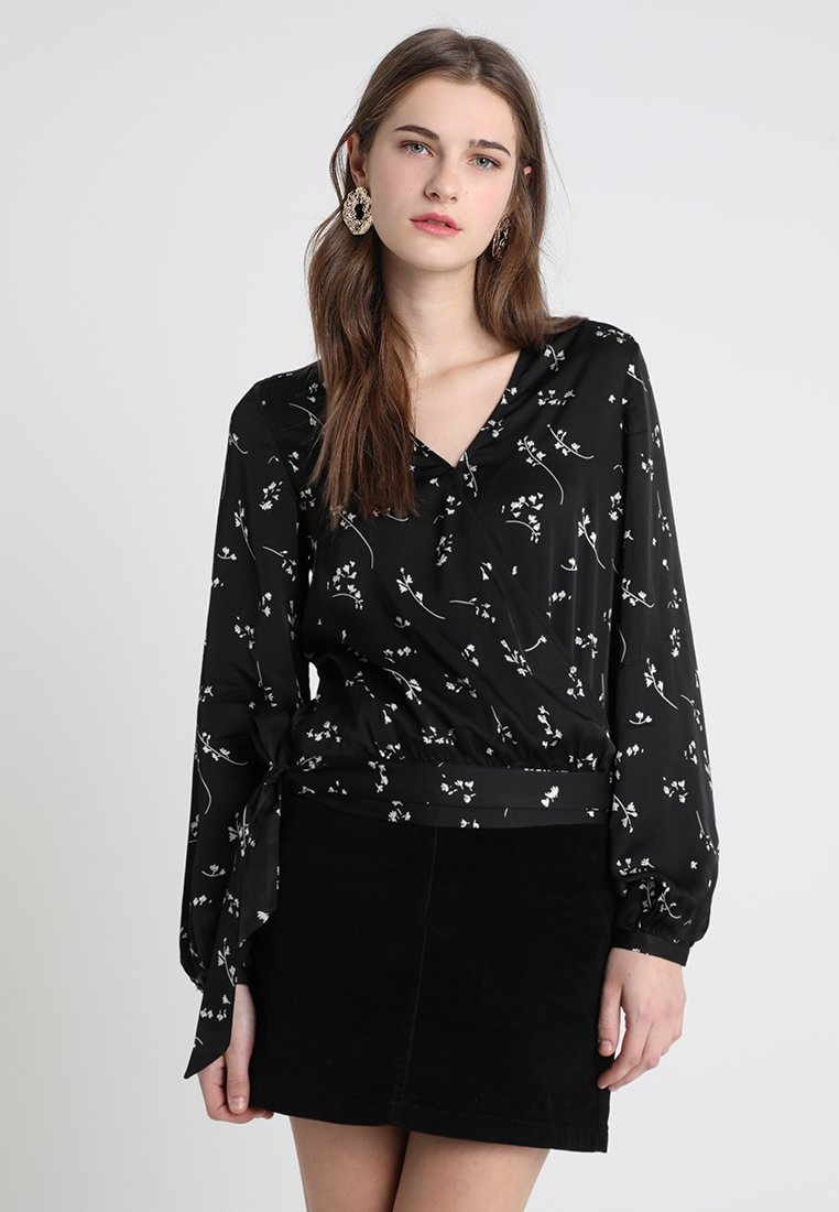 IVY & OAK - MIDI PRINTED WRAP BLOUSE - Camicetta - black
