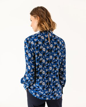 STAND UP COLLAR BLOUSE - Blouse - brilliant blue