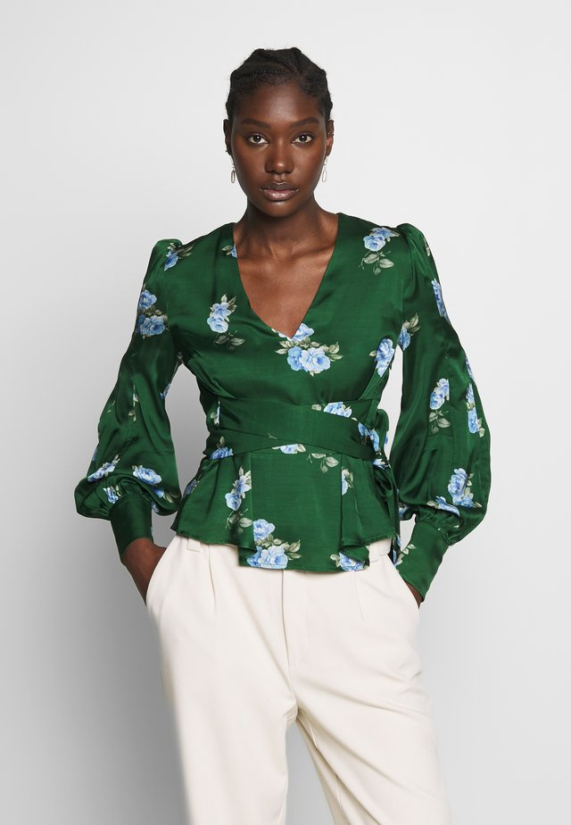 PUFFY SLEEVES BLOUSE - Bluzka - porcelain/eden green